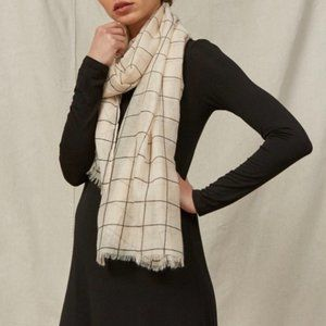 Rachel Pally Cream Grid Natural Lightweight Scarf